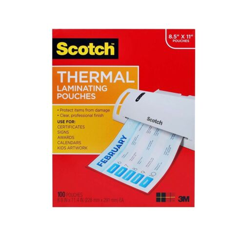 Thermal Laminating Sheets Scotch Pouches 8.5 X 11 3 Mil Best Letter Size 100Pack