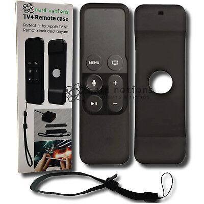 Remote Control Case Cover for Apple TV 4 Siri Remote. NIB. BLACK w/ lanyard.