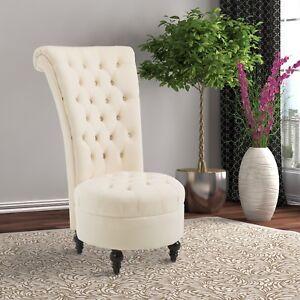"""Chaise de Salon 45"""" Velours Accent Rembourré Lounge Crème Blanc"""