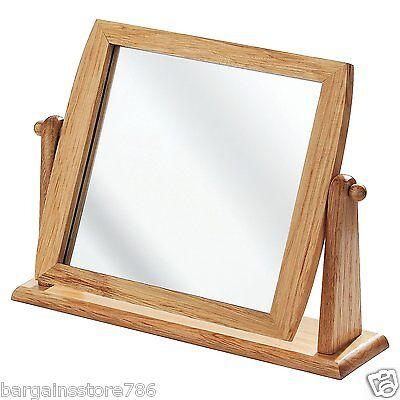 Freistehende Badezimmer-spiegel (Tisch Spiegel Holz Freistehend Badezimmer Rasieren Schminktisch Drehgelenk)