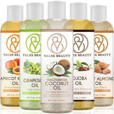 Carrier Oil 4oz For Skin, Nails, Hair Growth, Massage - Coconut, Almond, Jojoba