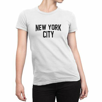 Ladies John Lennon T-Shirt Womens Cap Sleeve New York City Slim Fit Tee White