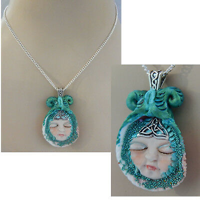 - Mermaid Necklace Shell Pendant Jewelry Handmade NEW Hand Sculpted Clay Chain
