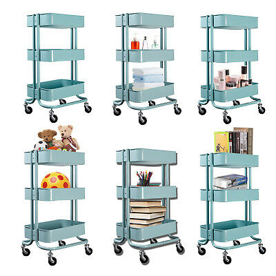 - Metal Rolling Trolley Utility Cart - Heavy Duty Mobile Storage Organizer Shelves