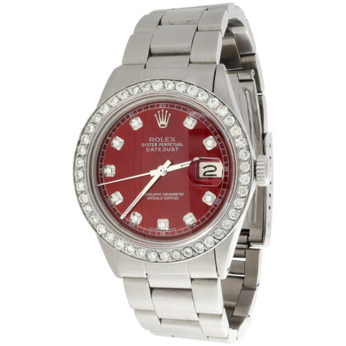 Mens Rolex 36mm DateJust 16014 Diamond Watch Oyster Band Custom Red Dial 2 CT.