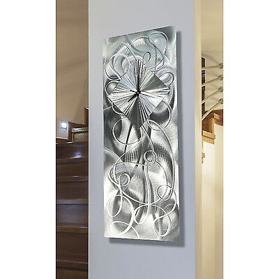 Statements2000 Silver 3D Metal Wall Clock Art Decor by Jon Allen Light Source
