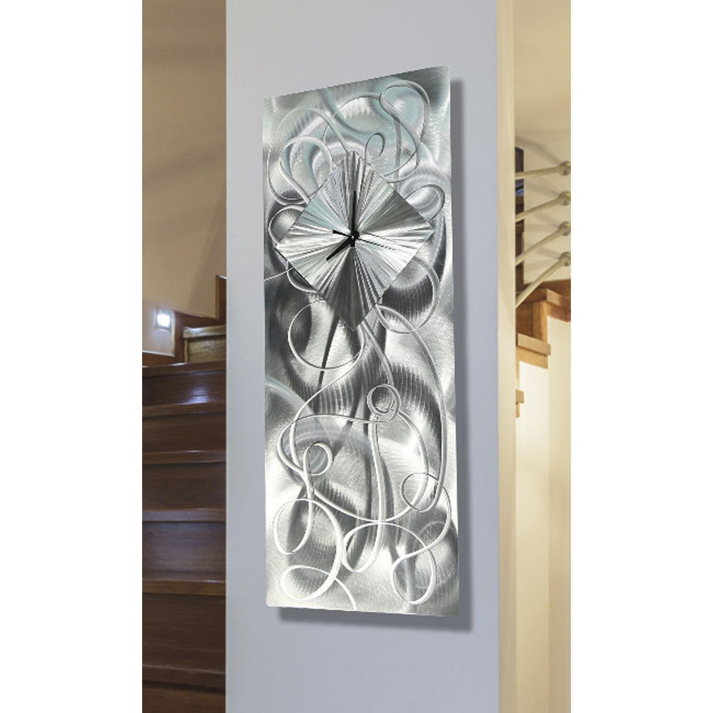 Wall Light Sculpture: Contemporary Silver Metal Wall Clock Art Sculpture