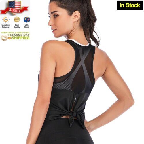 Black Racerback Tank Top Part Mesh Quick Dry Yoga Activewear Size: XS, S, M, L