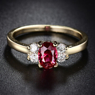 Flower Oval Ruby Crystal Rhinestone Yellow Gold Filled Women Lady Wedding Rings Crystal Rhinestone Bridal Rings