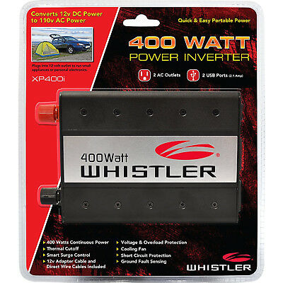 Whistler 400W Auto Power Inverter with 12V Cable & Battery Clamps Car Vehicle  for sale  Shipping to India