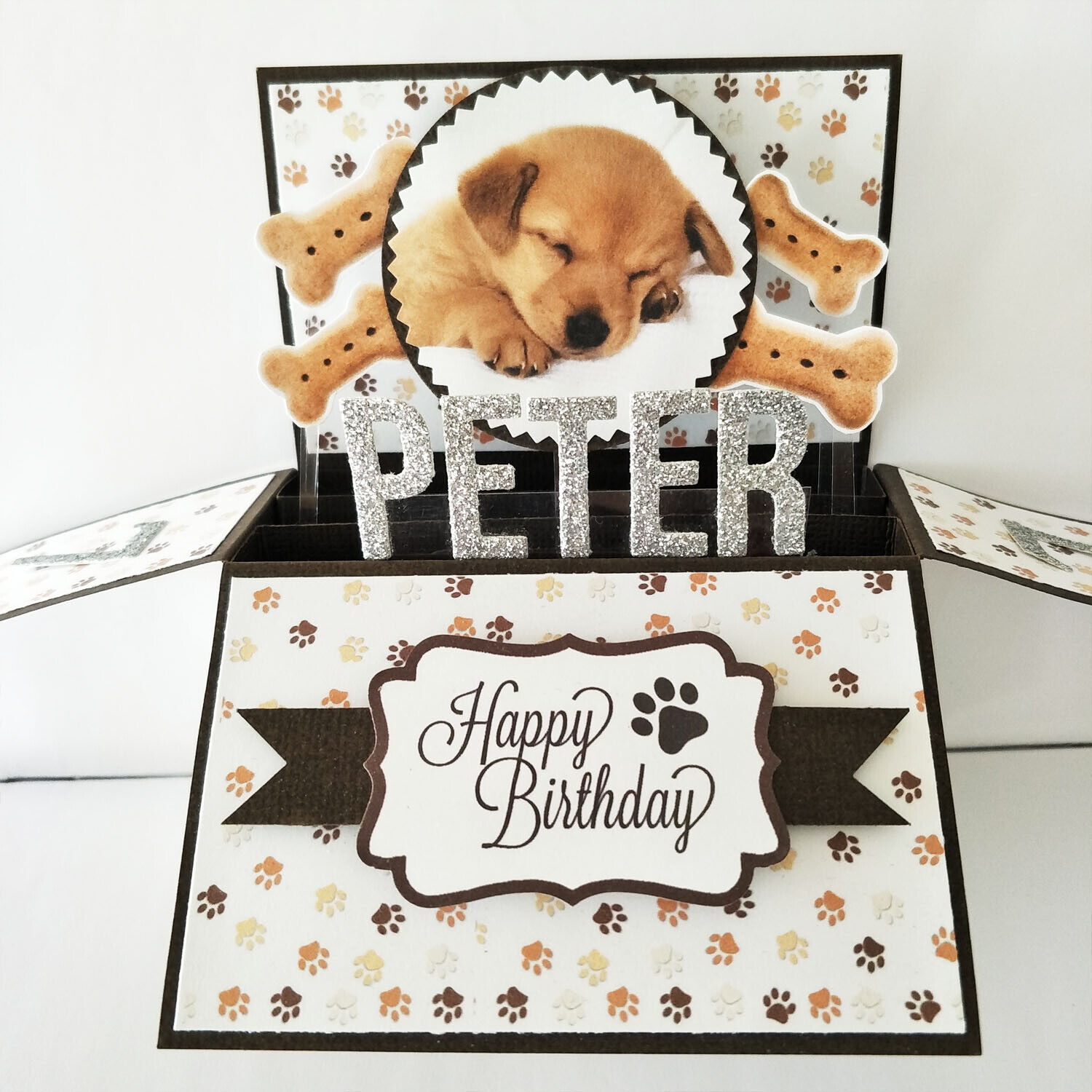 Handmade Name & Age Personalized birthday card, dog birthday card dog puppy card