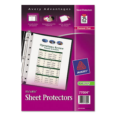 Avery Top Load Sheet Protector Heavyweight 8 12 X 5 12 Clear 25pack 77004