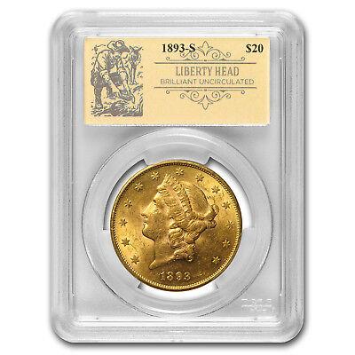 1893-S $20 Liberty Gold Double Eagle BU PCGS (Prospector Label) - SKU#163284
