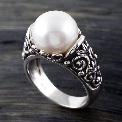 925 Sterling Silver Fancy Swirl Design Freshwater Pearl Ring Size - Freshwater Pearl Swirl Drop