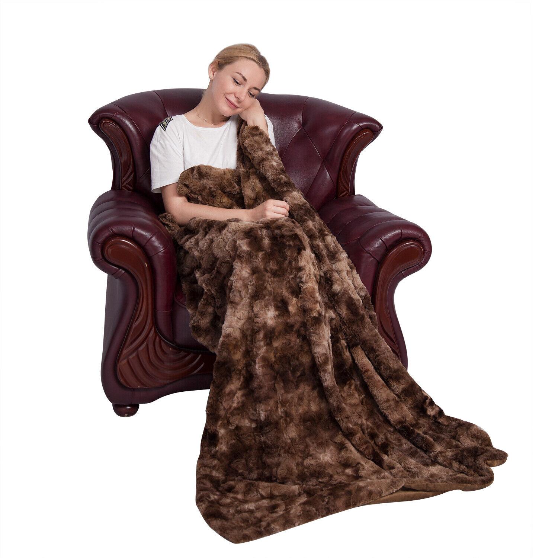 Softan Faux Fur Bed Blanket Soft Cozy Warm Fluffy Minky Flee