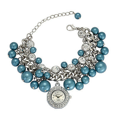 "DESIGNER SIMULATED  BLUE PEARL AUSTRIAN CRYSTAL BRACELET DANGLE 7""-9""  WATCH"