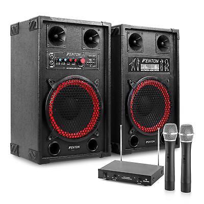 PA KARAOKE ANLAGE LAUTSPRECHER HIFI STEREO BOXEN USB SD MP3 PLAYER 2 FUNK MIKRO