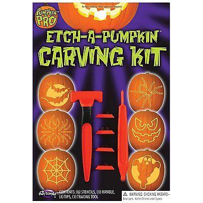 Pumpkin Pro Etch-a Pumpkin Carving Kit 6 Stencils-1 Handle, 4 Tips, 1 Tool New! (Halloween Pumpkin Carving Tips)