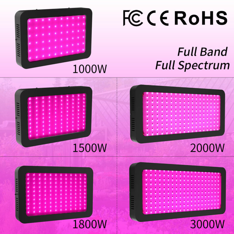 New LED Grow Light 3000W 2000W 1800W 1500W 1000W Full Spectrum Full Band Upgraded Unbranded NYG000051 for 43.7.