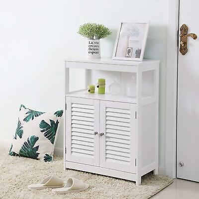 Bathroom Storage Cabinet Floor with Adjustable Shelf and Double Shutter Door