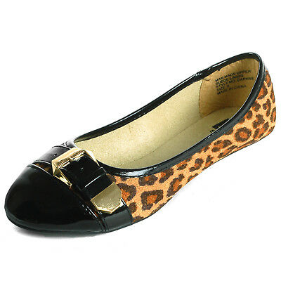 Alpine Swiss Daphne Womens Cheetah Ballet Flats Faux Patent Leather Buckle Shoes