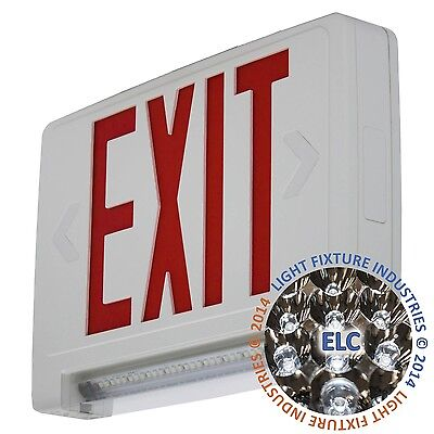 Red All Led Exit Sign Emergency Light Bar Combo Ul - Self Testing Combolprst