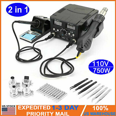 2 In 1 Soldering Iron Hot Air Gun Desoldering Rework Station Smd Digital Solder