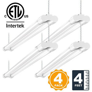 4 PACK 4FT LED SHOP LIGHT 5000K Daylight Fixture Utility Ceiling Lights Garage