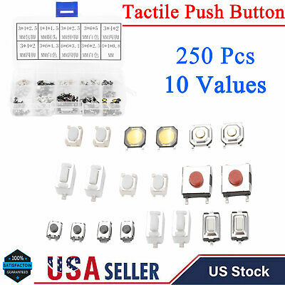 250 Pcs 10 Values Tactile Push Button Switch Micro Momentary Tact Assortment Kit