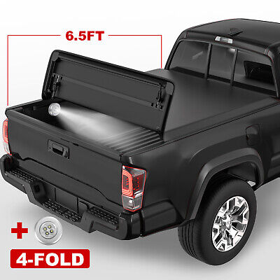 4-Fold 6.5FT Soft Tonneau Cover For Dodge Ram 1500 2500 3500 Truck Bed w/Lamp