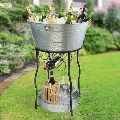 Galvanized Steel Buckets (Beverage Tub Serving Station Galvanized Steel Ice Bucket Cooler Stand Wine)