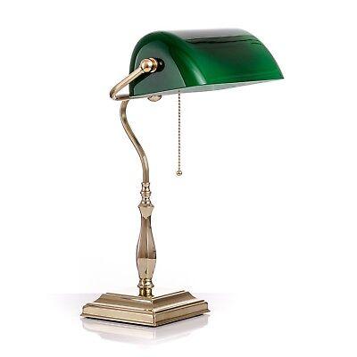 Messing Banker Lampe (Schreibtiischlampe Bankerlampe grün Original Berliner Messing in bester Qualität)