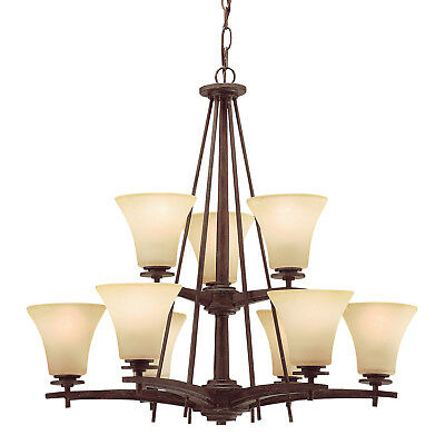 Ashton Chandelier 9 Light in Canyon Slate With Dusty Citrine Glass ()