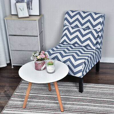 Office Armless Chair Upholstered Fabric Slipper Accent Chair Lumbar Support Blue