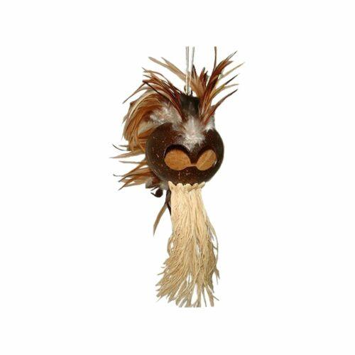 LARGE Hawaiian Natural Ikaika Warrior Helmet with Raffia
