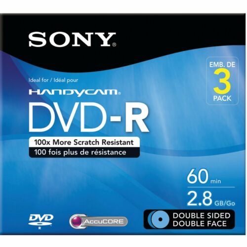 Sony 60 Minute 2.8 GB DVD 3 Pack Double Sided Double Face