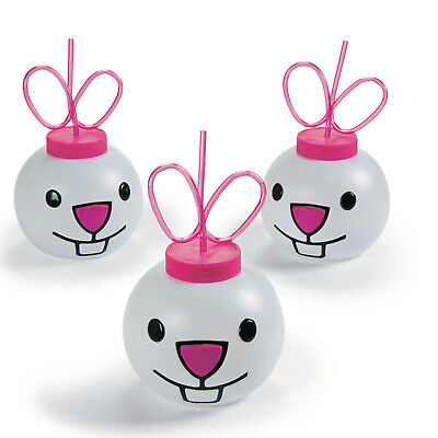4 Easter Bunny Cups with Straws PARTY Favor DECORATION Egg Hunt BASKET STUFFER