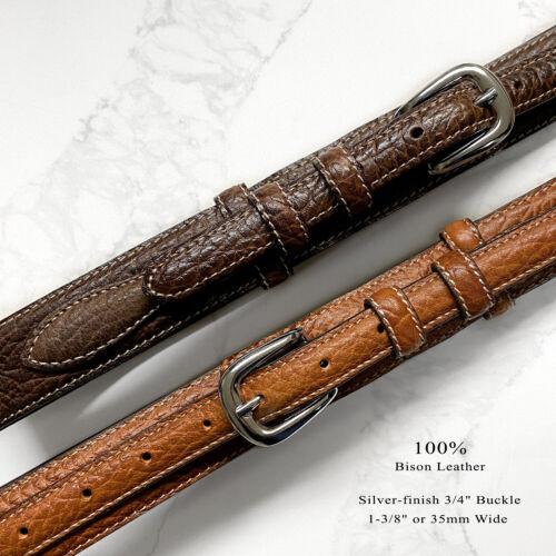 """Western Ranger Belt Genuine Leather Ranger Bison Belt 1-3/8""""(35mm) Wide"""