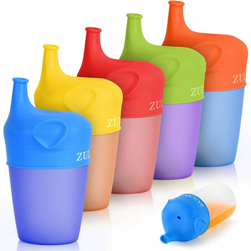 Stretchable Silicone Sippy Cup Lids 5 Pack Soft Spout BPA Free Safe Flexible