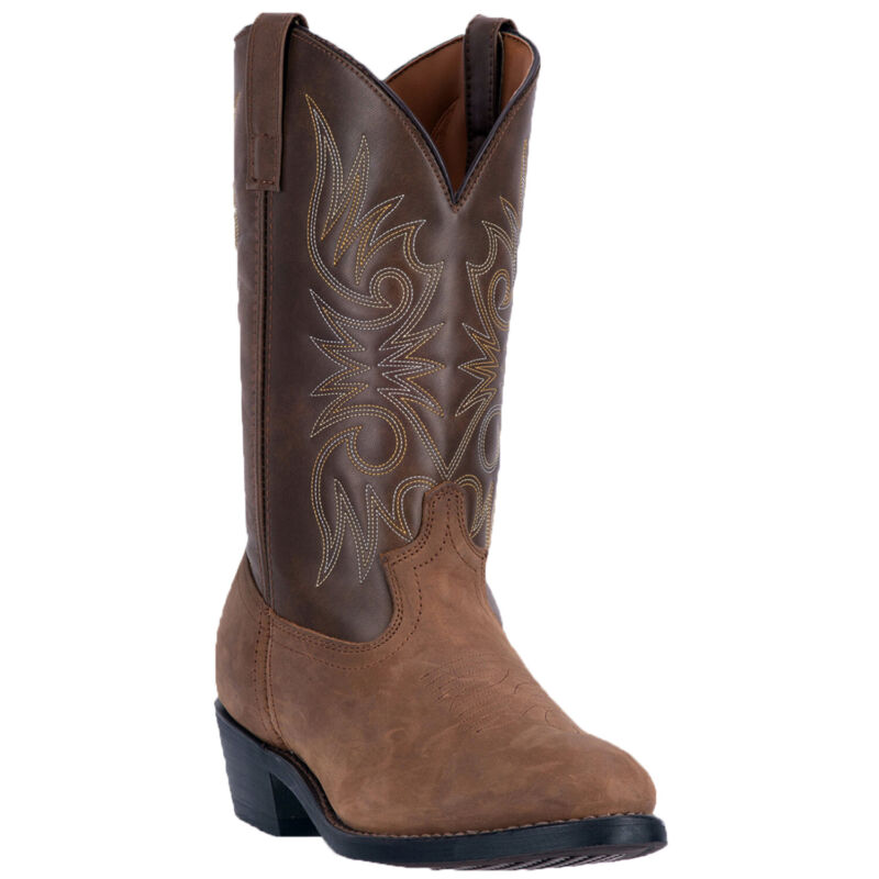 Laredo, Mens, Western, Cowboy, Boots, Distressed, Leather, Embroidery, Round, Toe, Tan