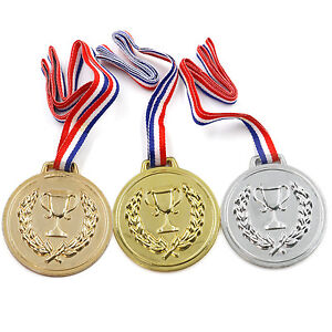 TRIXES Pack of 3 Gold Silver Bronze Fancy Dress Olympic Podium Medals