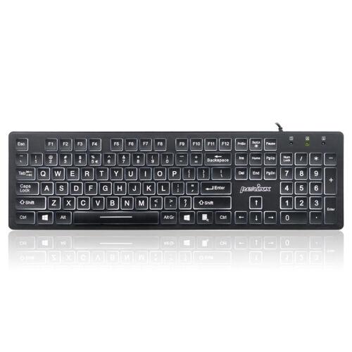 Perixx PERIBOARD-317 Wired Backlit Keyboard,Illuminated Big-Print Letter Keys