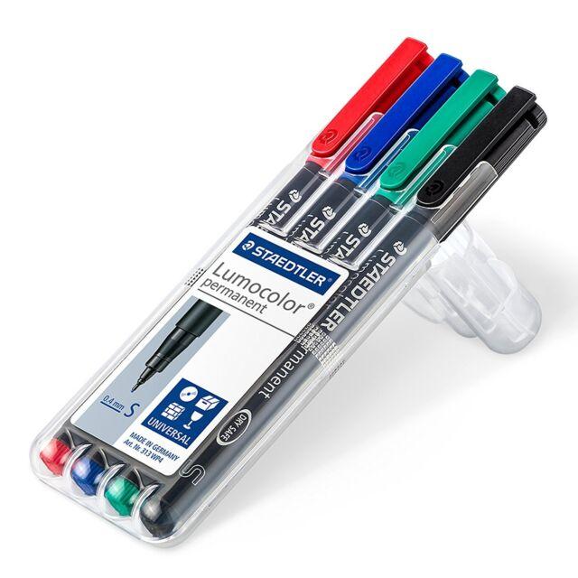 Staedtler 313 WP4 Lumocolor Universal Permanent Superfine Pens - Assorted Colour