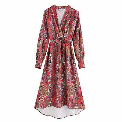 Wholesale Women Dress (New Womens Paisley Cashew Floral Print V-Neck Long Sleeve Midi Dress)