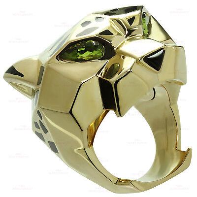 Panthère de CARTIER Lacquer Peridot Onyx Lacquer 18k Yellow Gold Ring Size 53
