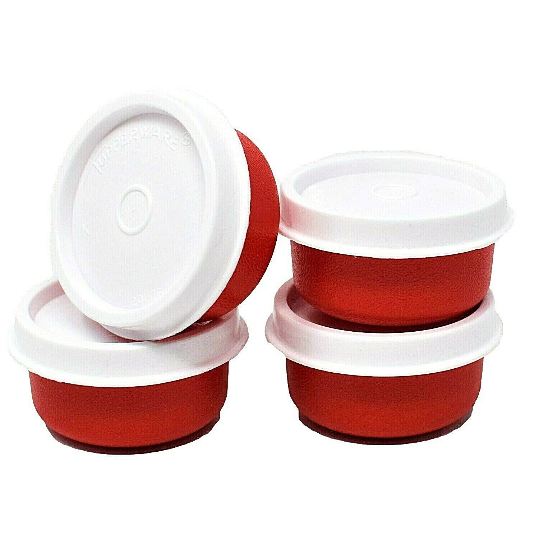 Tupperware Lot of 4 Red/White Lid Smidgets 1463 Mini Storage