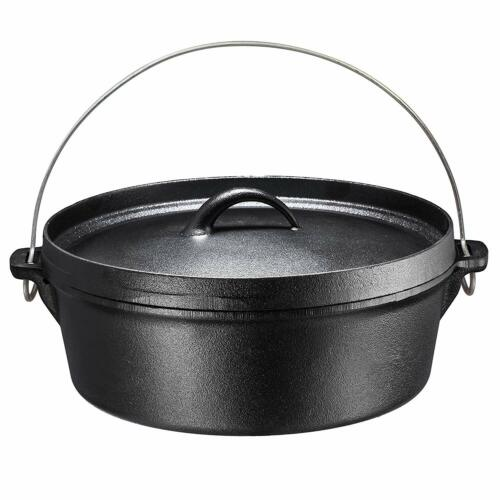 Bruntmor Pre-Seasoned Cast Iron Dutch Oven with Flanged Lid 6-Quart Black