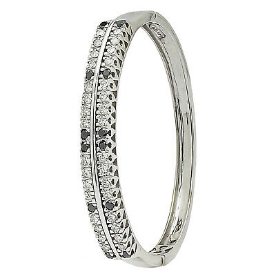 14K White Gold Black Diamond Bangle Bracelet  1.50ct TDW  24.2 GRAMS (Black Diamond White Gold Bangles)