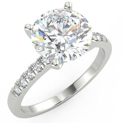 2.17 Ct Round Cut VS1/D Solitaire Pave Diamond Engagement Ring 14K White Gold