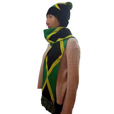 JAMAICA Flag Design Knit Pom Skull Cap And Scarf Set